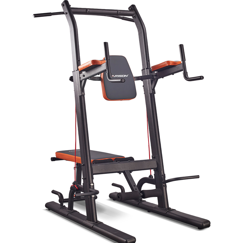 Multifunction power tower with bench home gym exercise equipment